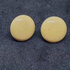 Cream Enamel Round Stud Earrings Silver Tone Women